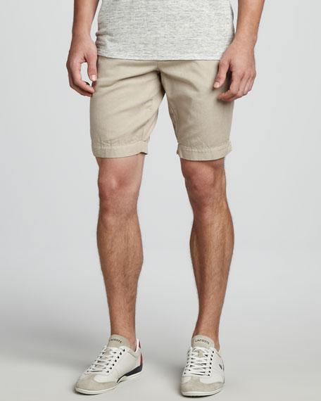 Cotton-Linen Shorts, Tan
