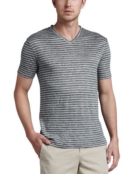 Linen Striped V-Neck Tee, Black