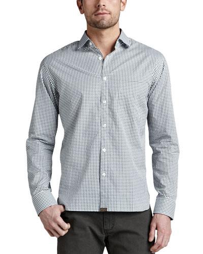 Billy Reid John T Check Sport Shirt, Green