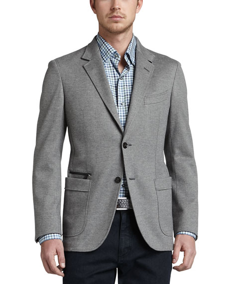 Soft Melange Two-Button Blazer, Gray