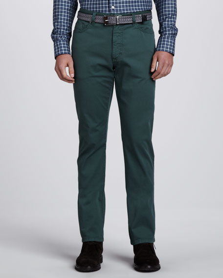 Twill Five-Pocket Pants, Green