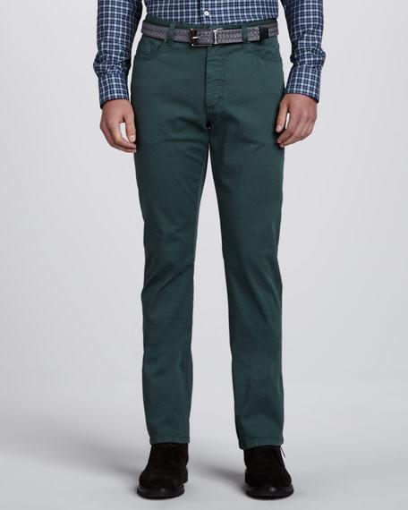Twill Five-Pocket Pants, Green