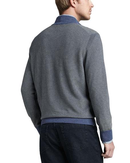 Contrast Quarter-Zip Waffle Sweater, Blue/Sage