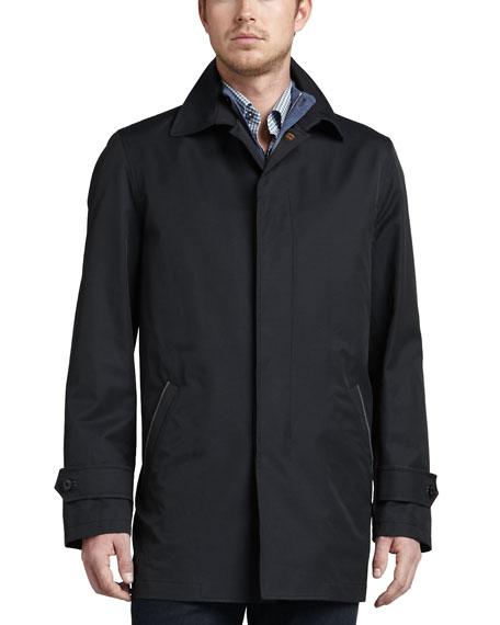 City Cotton-Blend Zip Coat, Navy