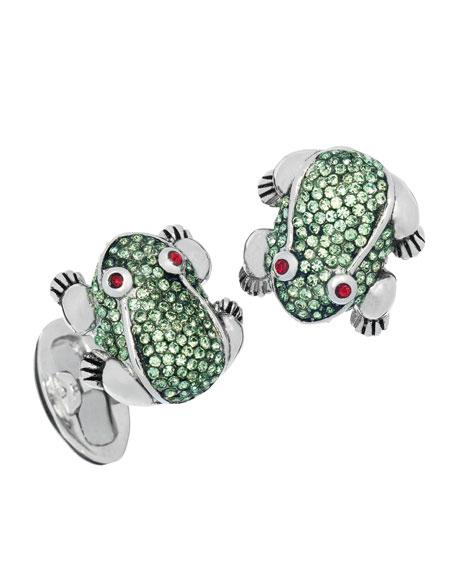 Crystal-Embellished Frog Cuff Links