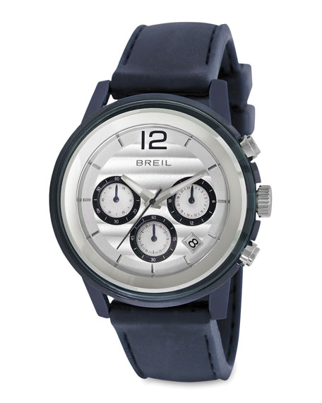Orchestra Silicon-Strap Chronograph Watch, Blue