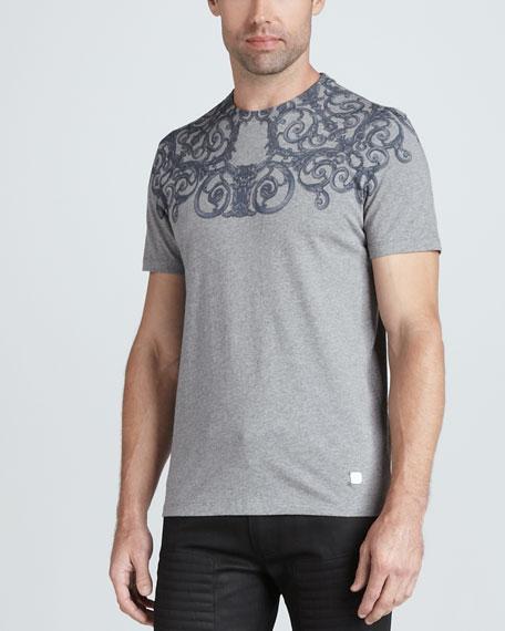 Short-Sleeve Screen-Print Tee, Silver