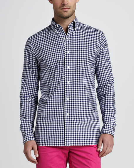 Gingham Sport Shirt, Navy
