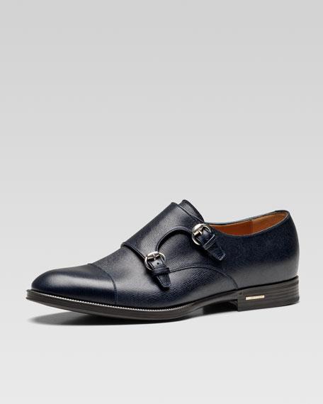 Handir Double-Monk Strap Shoe, Blue