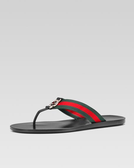 Web Strap Thong Sandal, Black