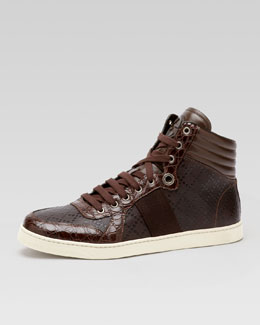 Coda Crocodile High-Top Sneaker, Brown