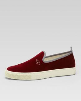 Gucci Mitte Velvet Slip-On Sneaker, Burgundy