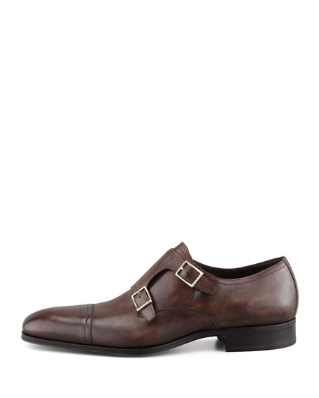 Edwin Double-Monk Strap Loafer, Dark Brown