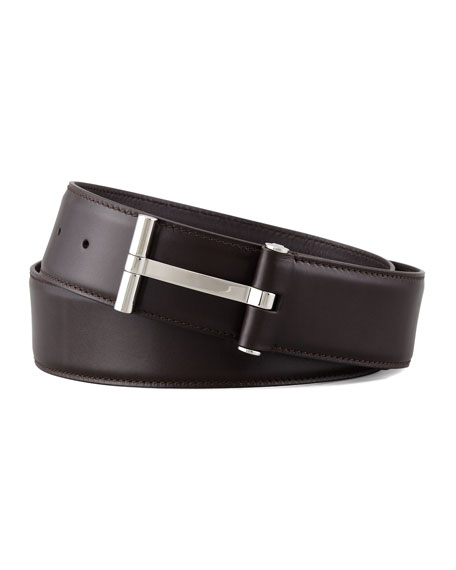 TOM FORD Men's Leather T-Buckle Belt, Brown