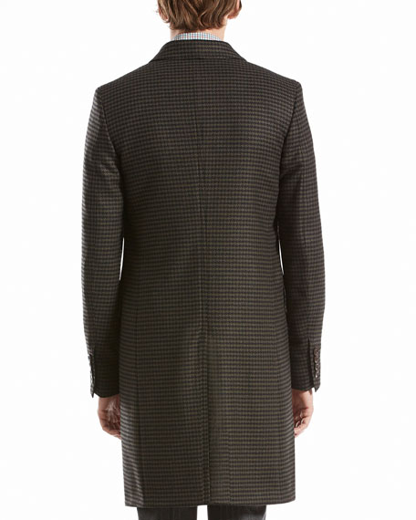 Houndstooth Three-Button Overcoat, Black/Green