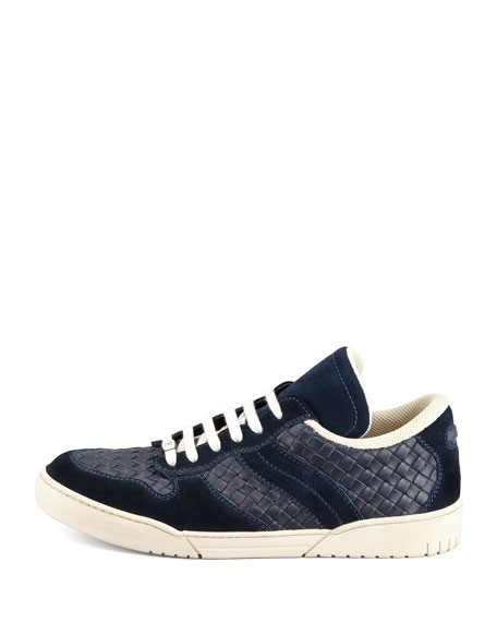 Woven Leather Lace-Up Sneaker, Navy