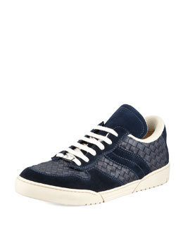 Bottega Veneta Woven Leather Lace-Up Sneaker, Navy