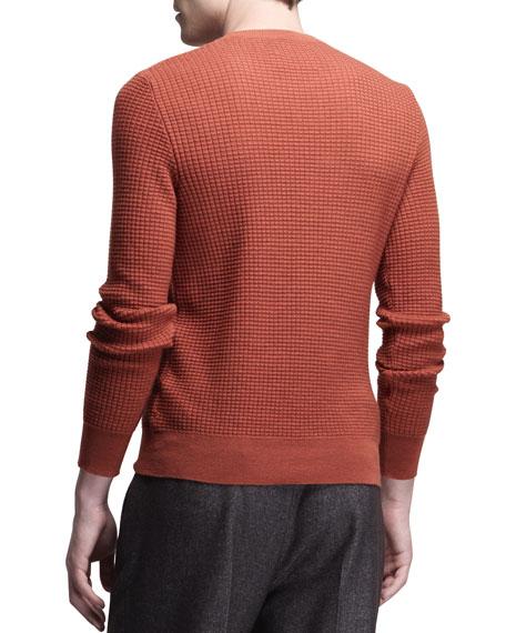 Crewneck Waffle-Knit Sweater, Mattone