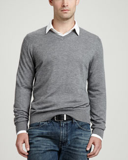 Neiman Marcus Superfine V-Neck Pullover Sweater, Gray
