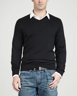 Neiman Marcus Superfine V-Neck Pullover Sweater, Black