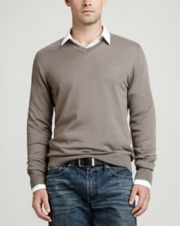 Neiman Marcus Superfine V-Neck Pullover Sweater, Taupe