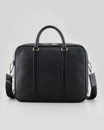 Zip-Around Leather Briefcase with Shoulder Strap