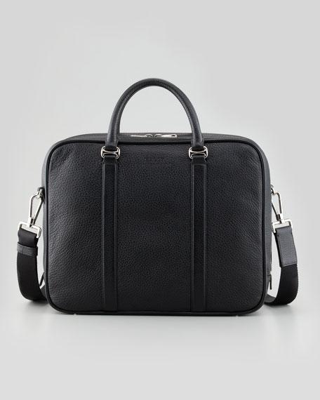 Bally Zip-Around Leather Briefcase with Shoulder Strap