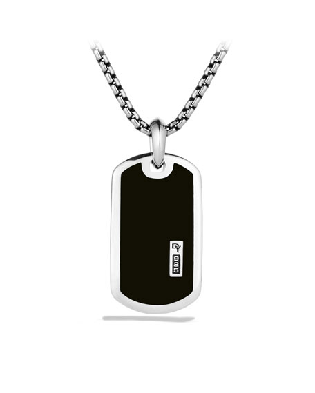 Exotic Stone Tag Necklace with Black Onyx