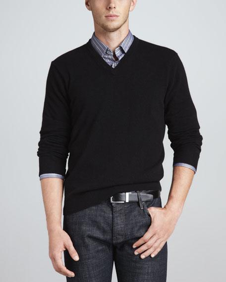 V-Neck Cashmere Pullover Sweater, Black