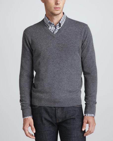 V-Neck Cashmere Pullover Sweater, Medium Gray