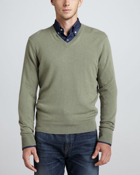 V-Neck Cashmere Pullover Sweater, Green