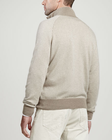 1/4-Zip Herringbone Pullover Sweater, Beige
