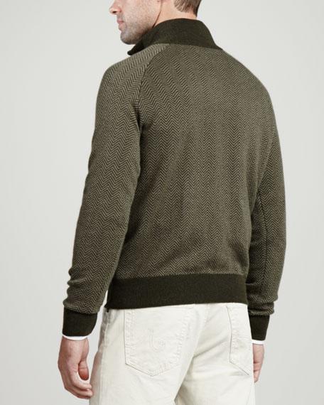 1/4-Zip Herringbone Pullover Sweater, Olive