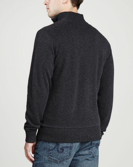 Reversible Knit Cashmere Cardigan, Charcoal
