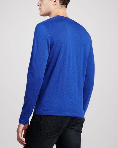 Superfine Cashmere Crewneck Sweater, Blue