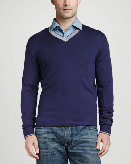 Superfine Tricolor V-Neck Sweater, Navy