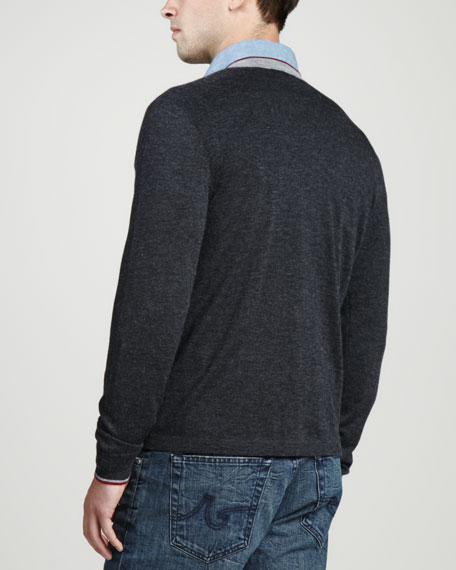 Superfine Tricolor V-Neck Sweater, Charcoal