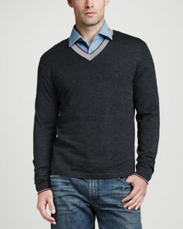 Neiman Marcus Superfine Tricolor V-Neck Sweater, Charcoal