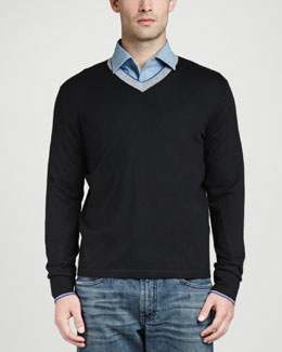 Neiman Marcus Superfine Tricolor V-Neck Sweater, Black