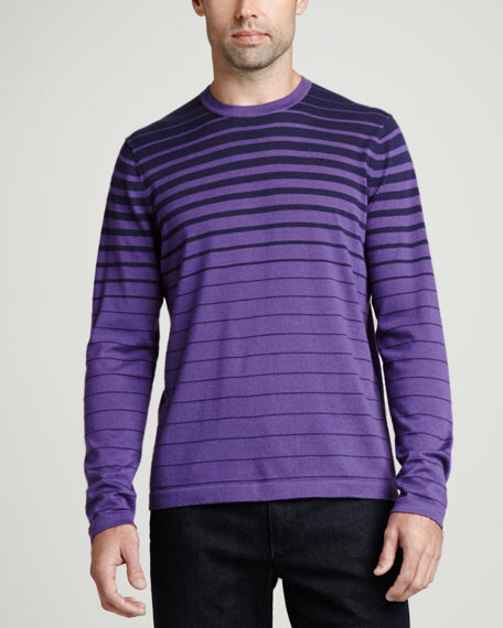 Superfine Cashmere Striped Sweater, Purple Stripe