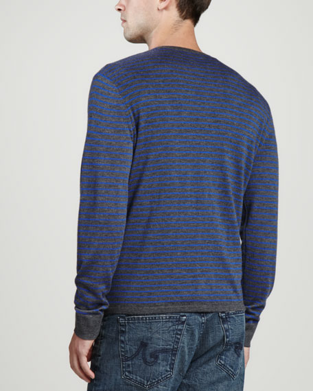 Long-Sleeve Striped Cashmere Henley, Derby GrayKlein