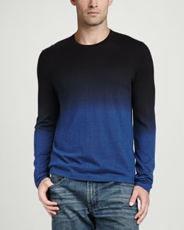 Neiman Marcus Superfine Dip-Dye Crew Neck Sweater, Navy