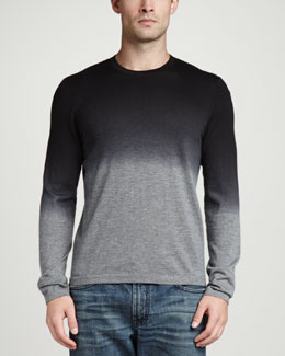 Neiman Marcus Superfine Dip-Dye Crew Neck Sweater, Black/Gray