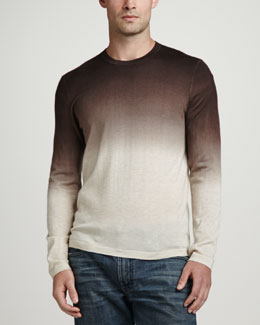 Neiman Marcus Superfine Dip-Dye Crew Neck Sweater, Natural