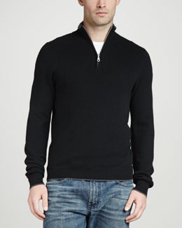 Neiman Marcus Tipped Pique 1/4-Zip Sweater, Black