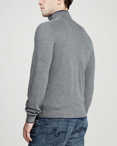 Tipped Pique 1/4-Zip Sweater, Gray