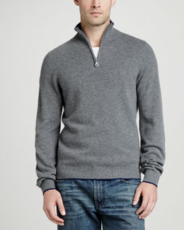 Neiman Marcus Tipped Pique 1/4-Zip Sweater, Gray