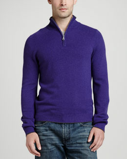 Neiman Marcus Tipped Pique 1/4-Zip Sweater, Purple