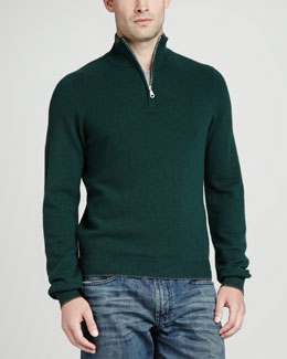 Neiman Marcus Tipped Pique 1/4-Zip Sweater, Green