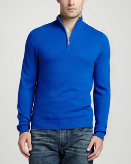 Neiman Marcus Tipped Pique 1/4-Zip Sweater, Blue